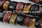 CTE408 15.5 inches 7*12mm faceted tyre red & yellow tiger eye beads