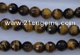 CTE422 15.5 inches 8mm faceted round yellow tiger eye beads