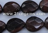 CTE465 15.5 inches 17*20mm faceted flat teardrop red tiger eye beads