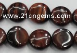 CTE53 15.5 inches 15mm flat round red tiger eye gemstone beads
