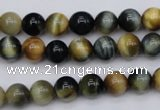 CTE552 15.5 inches 8mm round golden & blue tiger eye beads
