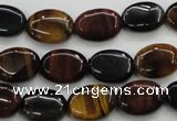 CTE60 15.5 inches 10*14mm oval mixed tiger eye gemstone beads