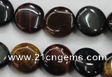 CTE62 15.5 inches 14mm flat round mixed tiger eye gemstone beads