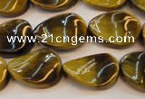 CTE638 15.5 inches 13*18mm twisted oval yellow tiger eye beads wholesale