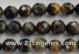 CTE723 15.5 inches 10mm faceted round yellow & blue tiger eye beads
