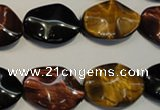 CTE801 15.5 inches 15*20mm wavy oval colorful tiger eye beads