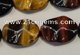 CTE802 15.5 inches 18*25mm wavy oval colorful tiger eye beads
