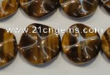 CTE836 15.5 inches 20mm wavy coin yellow tiger eye beads
