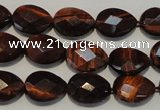 CTE882 15.5 inches 10*14mm faceted flat teardrop red tiger eye beads