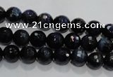 CTE931 15.5 inches 6mm faceted round dyed blue tiger eye beads