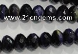 CTE942 15.5 inches 8*12mm faceted rondelle dyed blue tiger eye beads
