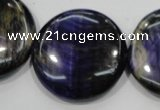 CTE966 15.5 inches 30mm flat round dyed blue tiger eye beads