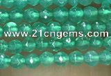CTG1007 15.5 inches 2mm faceted round tiny green agate beads