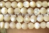 CTG1089 15.5 inches 2mm faceted round tiny mother of pearl beads
