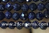 CTG1191 15.5 inches 3mm faceted round blue goldstone beads
