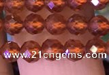 CTG1217 15.5 inches 4mm faceted round tiny orange garnet beads