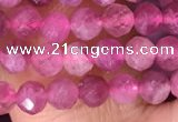 CTG1510 15.5 inches 3mm faceted round pink tourmaline beads