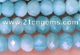 CTG1611 15.5 inches 3*4mm faceted rondelle tiny amazonite beads