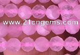 CTG1635 15.5 inches 3.5mm faceted round tiny rose quartz beads