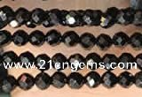 CTG2126 15 inches 2mm,3mm & 4mm faceted round black agate gemstone beads