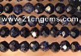 CTG2135 15 inches 2mm,3mm faceted round blue goldstone beads