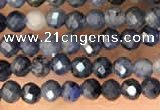 CTG2137 15 inches 2mm,3mm faceted round blue dumortierite beads