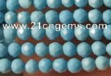 CTG2152 15 inches 2mm,3mm faceted round synthetic turquoise beads