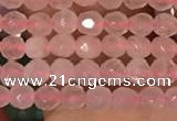 CTG2202 15 inches 2mm,3mm & 4mm faceted round rose quartz beads