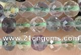 CTG2509 15.5 inches 4mm faceted round fluorite beads wholesale