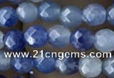 CTG2522 15.5 inches 4mm faceted round blue aventurine beads