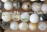 CTG2537 15.5 inches 4mm faceted round bamboo leaf agate beads