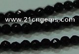 CTG29 15.5 inches 2mm faceted round black agate beads wholesale