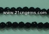 CTG31 15.5 inches 4mm faceted round black agate beads wholesale