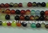 CTG50 15.5 inches 2mm round tiny multi-color agate beads wholesale