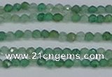 CTG628 15.5 inches 3mm faceted round green strawberry quartz beads