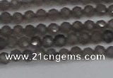 CTG640 15.5 inches 3mm faceted round smoky black obsidian beads