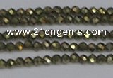 CTG645 15.5 inches 2mm faceted round golden pyrite beads