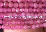 CTG705 15.5 inches 2mm faceted round tiny pink tourmaline beads
