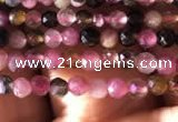 CTG724 15.5 inches 2mm faceted round tiny tourmaline beads