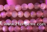 CTG738 15.5 inches 4mm faceted round tiny sunstone beads