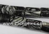 CTJ203 15.5 inches 12*20mm tube black water jasper beads wholesale