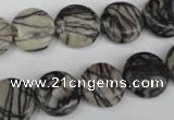 CTJ205 15.5 inches 13mm flat round black water jasper beads wholesale
