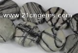 CTJ208 15.5 inches 20mm flat round black water jasper beads wholesale