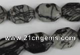 CTJ240 15.5 inches 13*18mm octagonal black water jasper beads