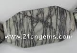 CTJ246 15.5 inches 25*50mm octagonal black water jasper beads