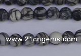 CTJ401 15.5 inches 6mm round matte black water jasper beads