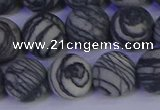 CTJ405 15.5 inches 14mm round matte black water jasper beads