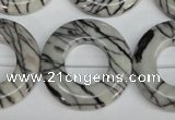 CTJ70 15.5 inches 30mm donut black water jasper beads wholesale