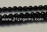 CTO107 15.5 inches 6mm faceted round natural black tourmaline beads