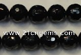 CTO110 15.5 inches 12mm faceted round natural black tourmaline beads